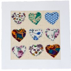 Embroidered Card - 9 Hearts (pack of 6 cards)