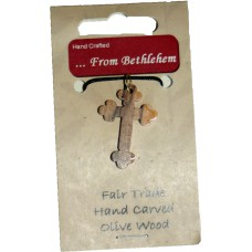 Olive Wood Pendant - Rounded Cross (pack of 12)