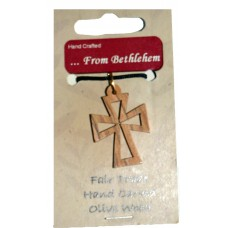 Olive Wood Pendant - Outline Cross (pack of 12)