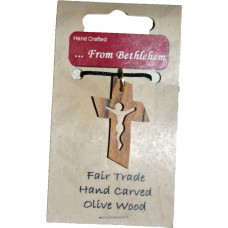 Olive Wood Pendant - Crucifixion Cross (pack of 12)