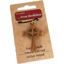 Olive Wood Pendant - Round Dove (pack of 12)