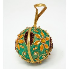 Zari Bauble - Green / Gold (pack of 6)