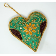 Zari Heart - Green / Gold (pack of 6)